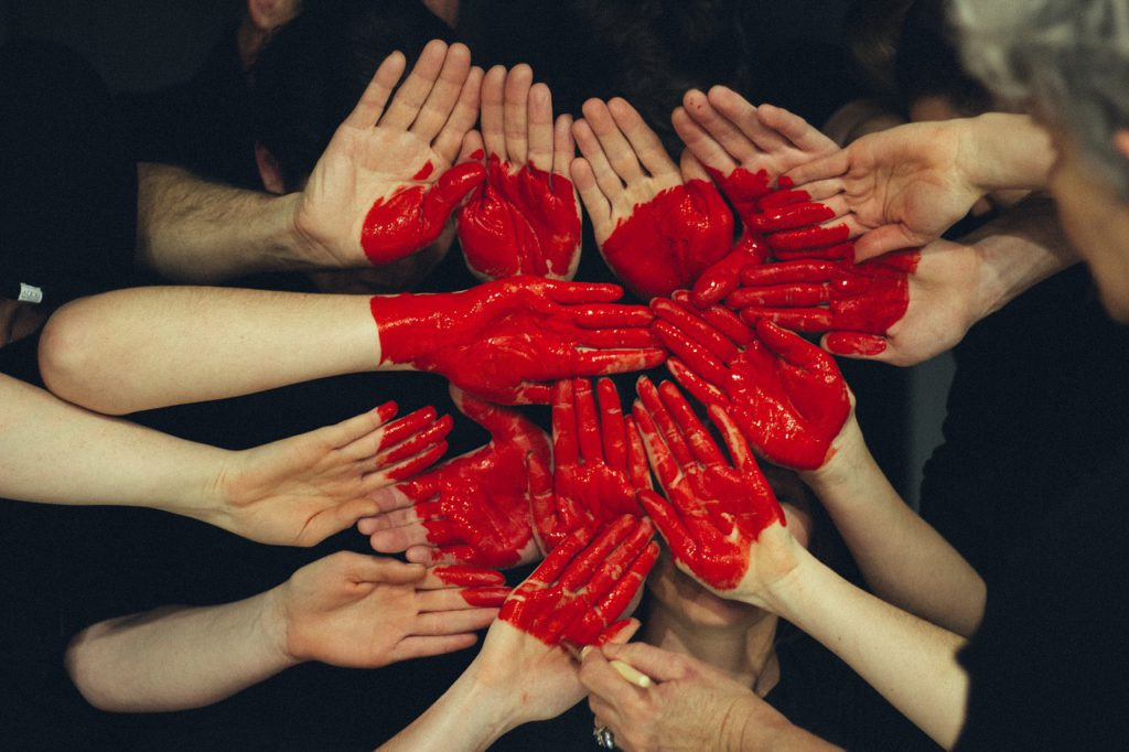 hands, heart, red paint